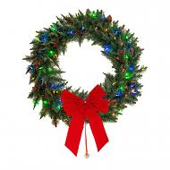"Dual Color 35 LED 24"" Wreath with Red Berries and Pinecones, Changeable from Warm White to Multi Color, Battery Operated, Uses 3 AA Batteries. Includes Removable Red Bow."