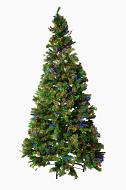 Mr. Light 9 Ft Pre-Lit Artificial Tree - 700 Dual Color LEDs, Red Berries, Pine Cones and mixed Pine PVC