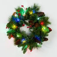 """Mr. Light 18"""" Pre-Lit, Decorated Wreath with 20 Multicolor LED's, and Bunches of Red Berries and Pine Cones. Indoor/Outdoor Battery Box + Built-in 6hr/ 24 hr Electronic Timer."""