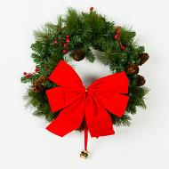 "Mr. Light 18"" Wreath with Berries and Pinecones, Unlit, Removable Red Bow Included."
