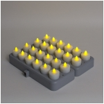Mr. Light Rechargeable Amber Tea Lights with Remote Control & Induction Charging Base - Set of 24