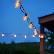 G40, 25 Clear Bulbs on 26 Ft. Long White Wire, UL Listed Indoor/ Outdoor String Light, Extendable Up To 3 Strings