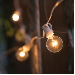 G40 Clear Light Bulbs with White Wire, UL Listed - Set of 25, 26 Ft. Long - Extendable Up To 3 Strings Indoor/Outdoor String Lights