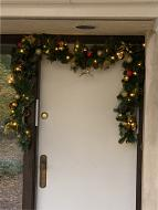 Mr. Light 9 Ft. Decorated Christmas Garland, with 50 Warm White LED's, 38 Gold and Red Balls and Gold Leaves, 18 Pinecones, 9 Bunches of Berries, Indoor/Outdoor Battery Box & 6hr/ 24hr Timer.
